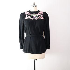vintage floral embroidered belted top blouse boho